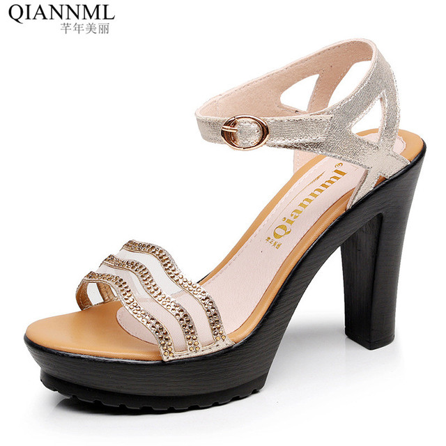 2b663f00d43 Qiannml Genuine Leather Sandals Woman Platform Shoes Summer 2018 High Heel Sandals  Women Block Heels Rhinestone Sandal 41 42