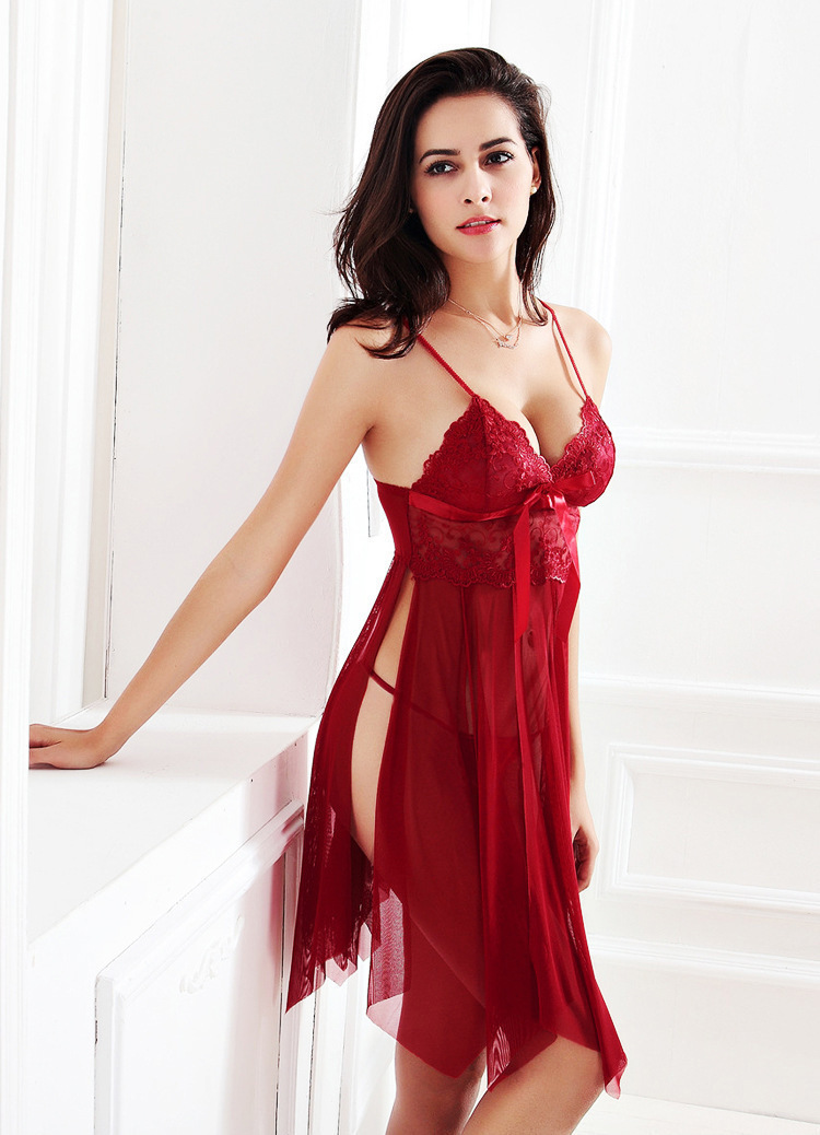 Lisacmvpnel Perspective Gauze Camisole Women Nightdress Uniform Temptation  Sexy Taste Lingerie