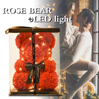 WR Dropshipping Red Rose Bear Crown Led Light 2019 Wedding Home Decoration Valentine's Day Gift Love Bear Gift For Valentines