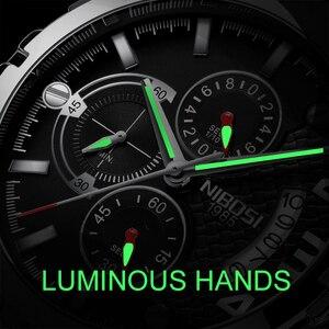 Image 2 - Nibosi relógio de pulso masculino, relógio de marca de luxo top para homens, esporte militar, à prova d água, aço inoxidável, cronógrafo, 2018