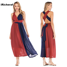 iRicheraf Fashion Patchwork Plus Size 2XL 3XL Bandage Dress A-Line Chiffon Women Long Beach Dresses Vestidos High Quality