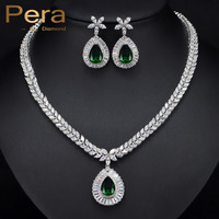 Classic White Gold Plated Marquise Shape AAA Cubic Zirconia Women Wedding Party Emerald Green Jewelry Sets