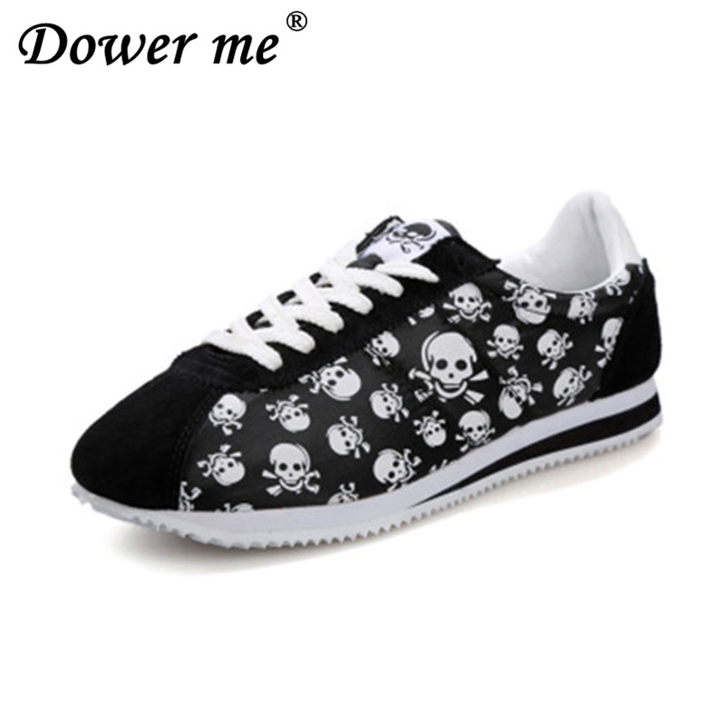 2017 spring summer luxury brand casual shoes,light originality skull heads print Cortez Hip hop flat lovers shoes size 35-44 skull cat print crescent hem top
