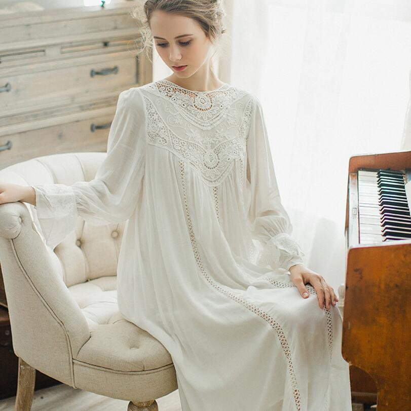 Autumn Women Long Sleep Lounge Cotton Sleepwear Female Home Dress Lace Princess Vintage Nightgown Women Sleeping Dress s1516