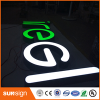 Sunsign LED Light Halo Lit Plexiglass White Acrylic Channel Letter Sign Making
