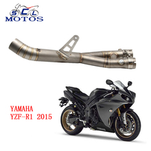 Sclmotos -YZF R1 2015 Stainless Steel Mid Pipe Motorbike Motorcycle Middle Link Exhaust Muffler for YAMAHA YZF-R1 2015