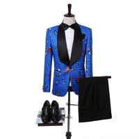 New Arrival Royal Blue Butterfly embroidery jacquard Groomsmen Shawl Lapel Groom Tuxedos  Men Suits Wedding  (Jacket+Pants+Tie
