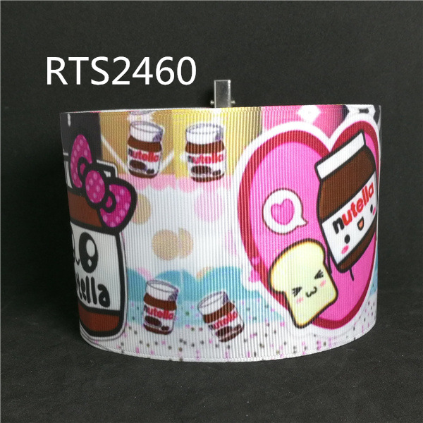 Free shipping 50yard roll 3 inch 75mm cartoon food character printed grosgrain ribbon RTS2460