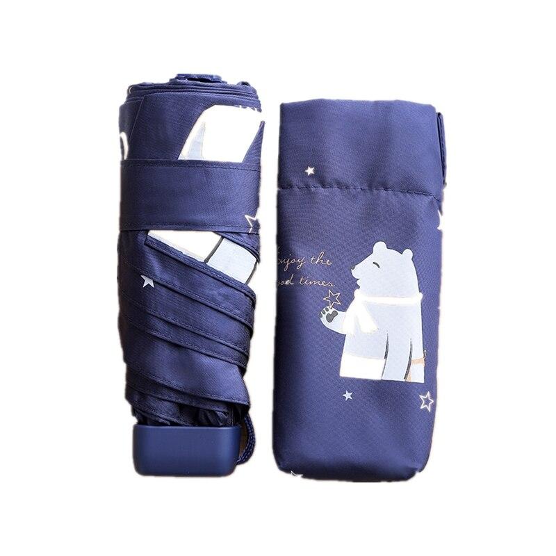 Fashion Mini Woman Umbrella Five Folding Animal Style Black Coating Travel Umbrella Rain Men Brand Light Pocket Girls Parasol