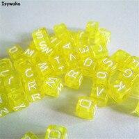Trasparente Sfondo Giallo Colori 1000 pz 6mm Misti Alfabeto Cubic Beads Lettera Acrilico Distanziatore Per Loom Braccialetto Della Fascia