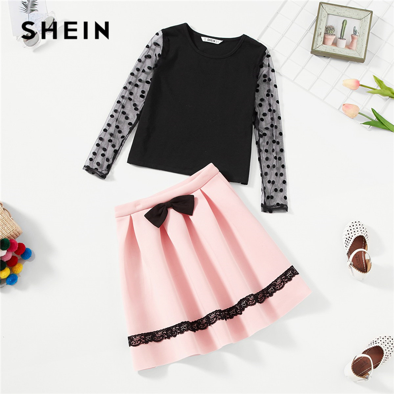 SHEIN Girls Dot Mesh Sleeve Top And Bow Front Skirt Two Piece Set Kids Clothing 2019 Spring Fashion Pleated Children Clothes Set