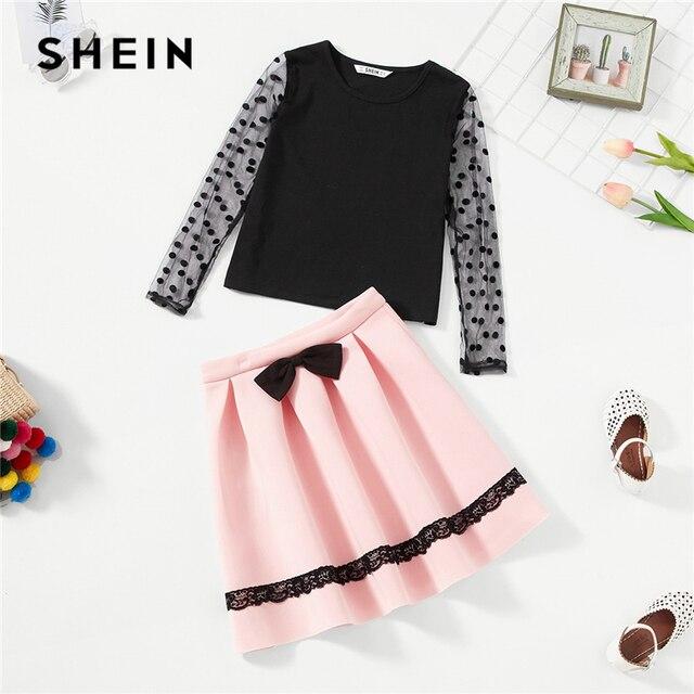 SHEIN/топ в горошек с сетчатыми рукавами для девочек и юбка с бантом спереди комплект детской одежды из двух предметов 2019 г. весенний модный плиссированный комплект детской одежды