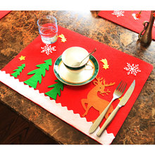 christmas table mat thickening cartoon decorations restaurant hotel ornaments party western food fork knife table cover - Western Christmas Decorations