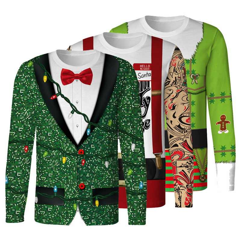 4cde7b64 ... Christmas Funny T-shirt 3D Print Slim Men Autumn Long Sleeve O Neck  Sweatshirt Tie