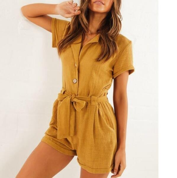 201 Summer Women Cotton Linen Playsuits Causal Short Sleeves   Jumpsuits   Belted Romper For Women