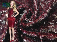 Красное вино вышивки рыбьей чешуи ламинаций сетки торжественное платье Ткань Пользовательские этап одежды Швейные кружевной ткани с пайет...