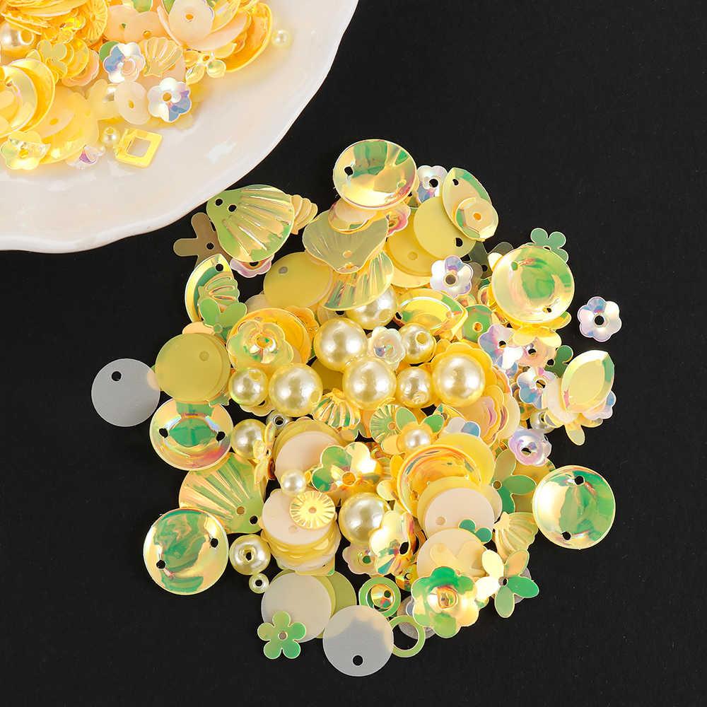 Diy Payet untuk Kerajinan Campuran Bunga Bintang Shell Daun Bentuk Payet Mutiara Manik-manik Kaca DIY Pakaian Jahit & Kain Pernikahan payet