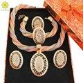 Chapado En Oro de la boda 3 Color Perlas Africanas Sistemas de La Joyería Nupcial Conjunto de Collar Fino Anillo Pendientes Pulsera Accesorios + Cajas de Regalo