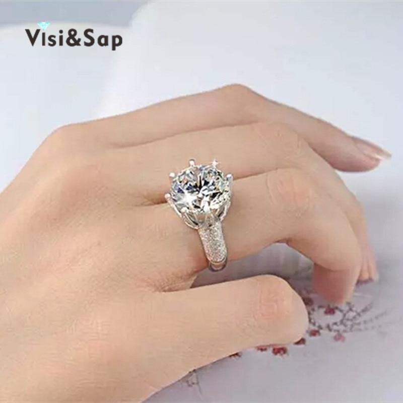 Visisap belo zlato barva prstan 8 karatna krona AAA kubični cirkonij - Modni nakit - Fotografija 5