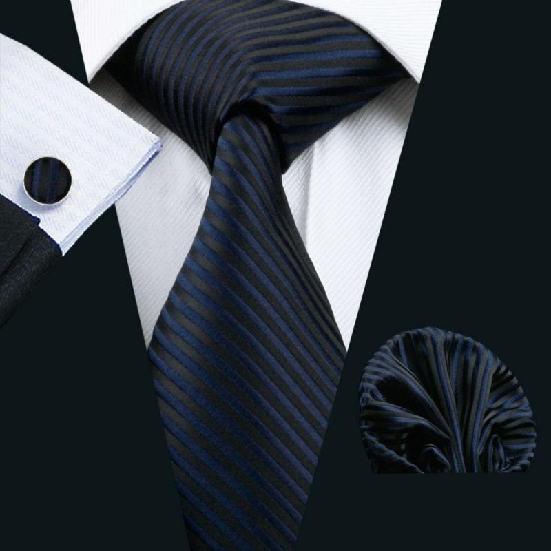 LS-877 Herren Krawatte Dark Gestreiften 100% Silk Klassische Jacquard Woven Barry. wang Tie Hanky Manschettenknopf Set Für Männer Formale Hochzeit
