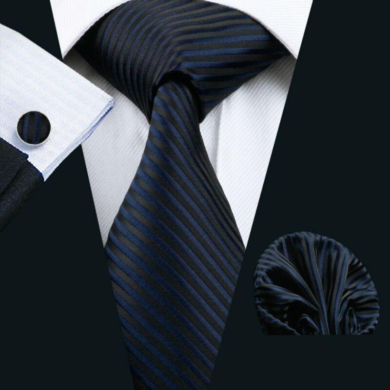 LS-877 Mens Tie Dark Striped 100% Silk Classic Jacquard Woven Barry.Wang Tie Hanky Cufflink Set For Men Formal Wedding Party