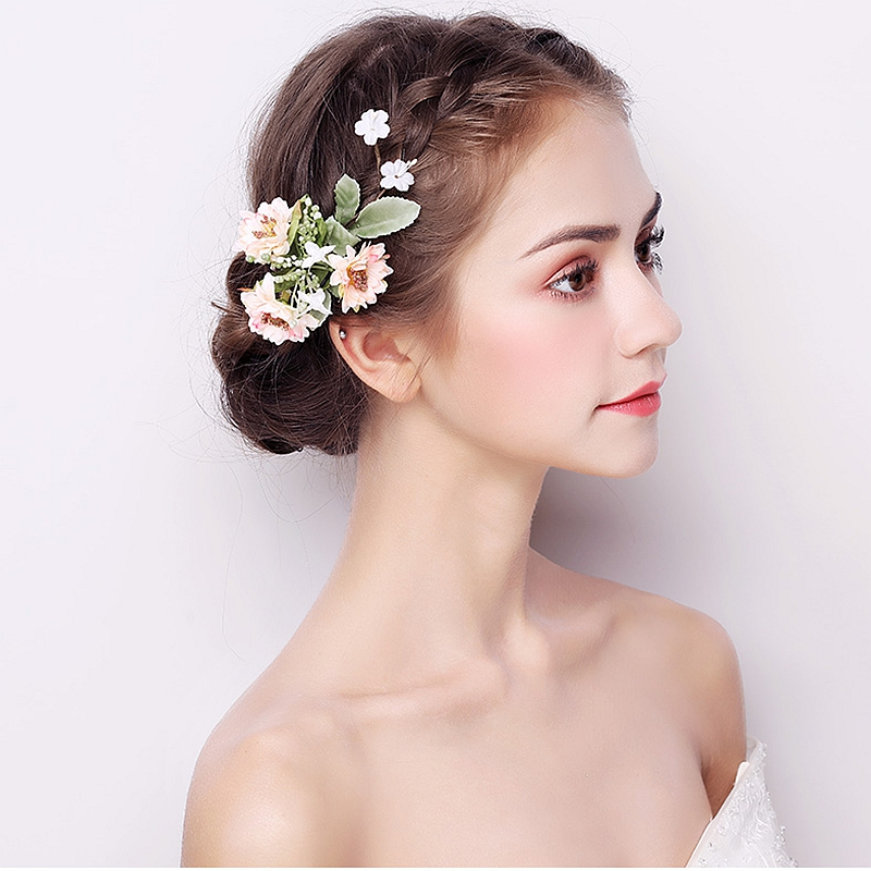 Bridal Headwear 2018 Handmade Flower Hair Claws New Sweet Head Ornament Wedding Yarn Accessories Green Peony Clips One Pair
