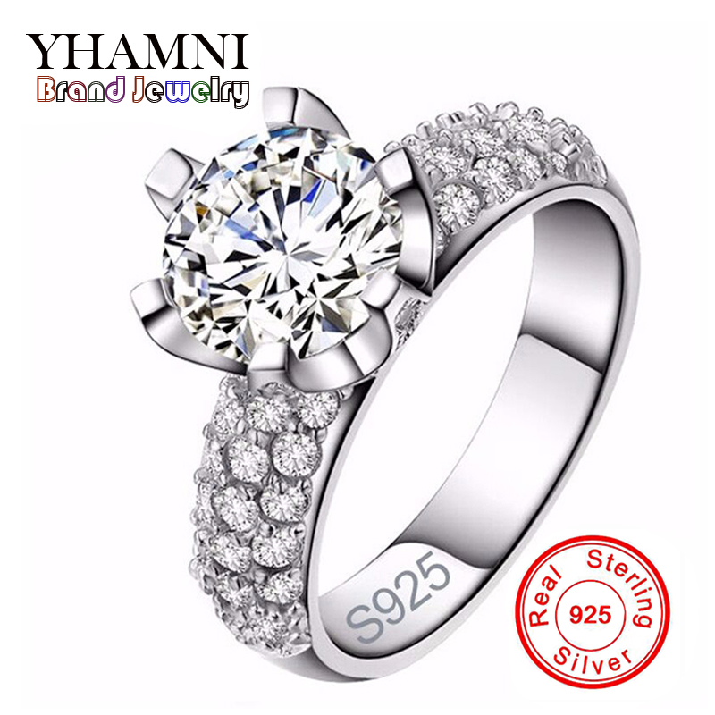Real Solid 925 Sterling Silver Wedding Rings For Women Romantic Flower Shaped Inlay 3 Carat CZ Diamant Engagement Ring Wholesale