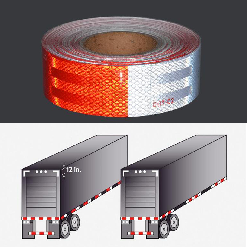 5cmx50m DOT-C2 Conspicuity Safety Reflective Tape Red White For Trailer Vehicle Truck, Trailer Reflector, Reflector Tape Roll