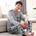 Winter and autumn men casual pajama suit Pocket long-sleeve+Plaid pants 2pcs100% cotton sleepwear plus size L-4XL pijama hombre