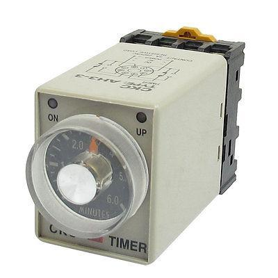 AH3-3 380VAC Power On 0-6Min. 6 Minutes Delay Timer Time Relay + Black Base