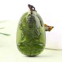 6 Natural Czech Moldavite Green Aerolites Carved Buddha Lucky Amulet Pendant Crystal Energy Apotropaic Free Rope