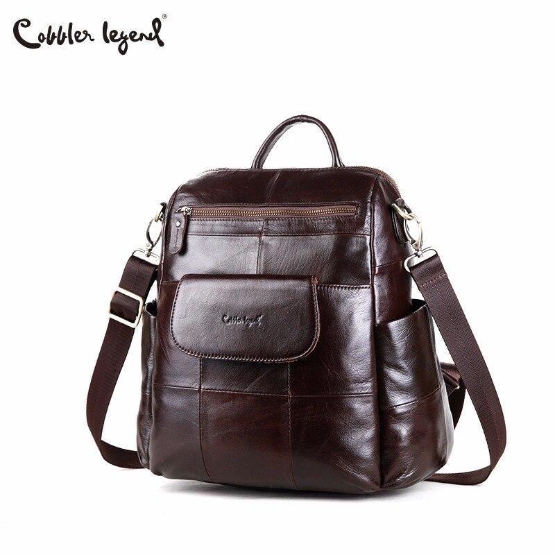 Backpack Laptop Shoulder-Bag Travel-Bags Cobbler Legend Genuine-Leather Schoolbag Top-Handle
