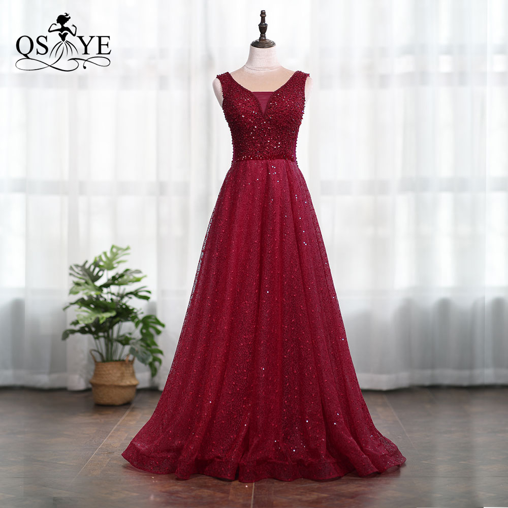 QSYYE 2019 Cheap Wine Red Lace Sexy V-neck Evening Prom Dress Heavy Beading Shinny Low Price Party Gowns image