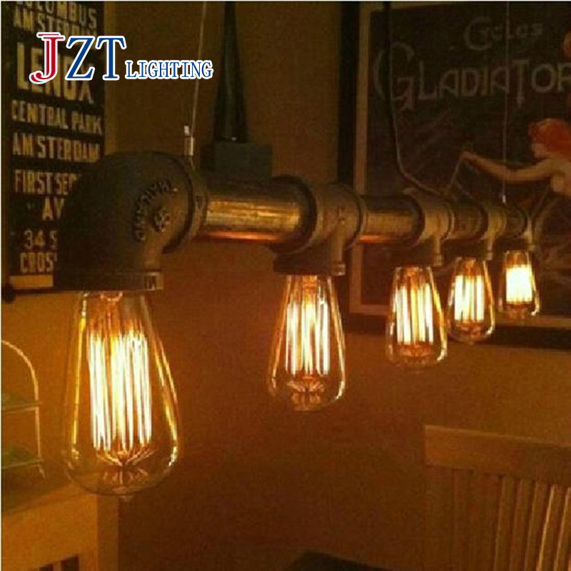 ZYY Industrial Rustic Steampunk METAL PIPE Water pipe lamp home lighting chandelier vintage Pendant ceiling Bar light led light art deco vintage industrial metal wire cage pendant light guard rustic ceiling mounted lamp cafe pub hotel porch bar