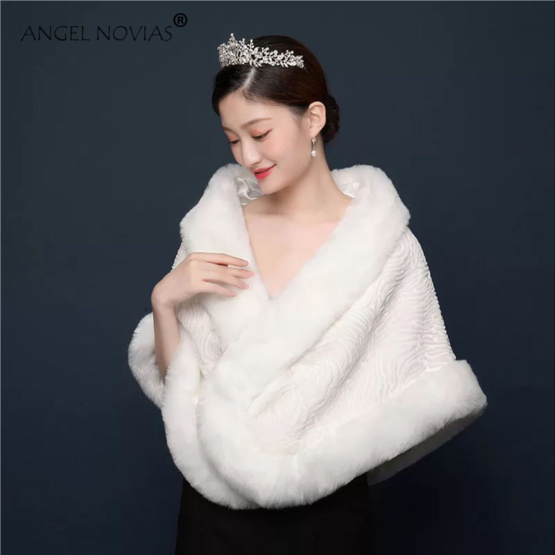 Angel Novias Red/White Wedding Bridal Shrug Bolero Fur Shawl Estolas Fiesta Mujer for Winter