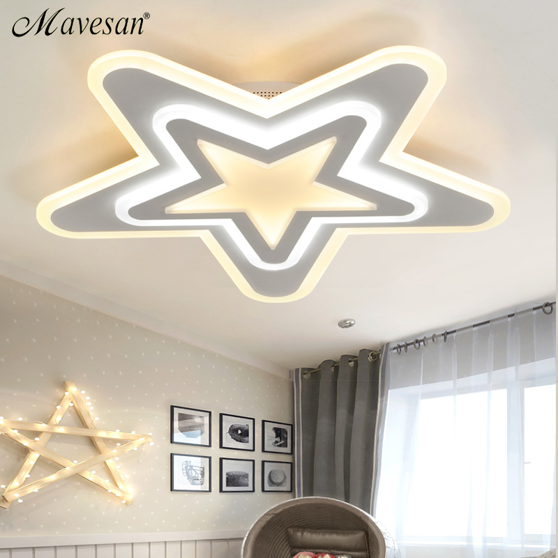 Mavesan Led Ceiling Lights For Indoor Lighting plafond led star Ceiling Lamp Fixture For child Room Bedroom luminaria teto noosion modern led ceiling lamp for bedroom room black and white color with crystal plafon techo iluminacion lustre de plafond