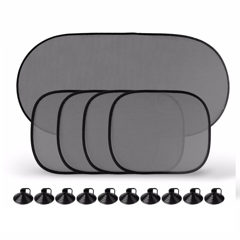 5 Pcs/Set Black Car Window Mesh Cover Windshield Rear Side Sunshade Visor Block