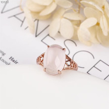 gemstone fine jewelry factory wholesale  925 sterling silver oval 10x16mm natural pink crystal ring for women