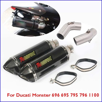 Monster 696 695 795 Motorcycle Exhaust Pipe Silencer Muffler Escape Kit Mid Link for Ducati 796 1100