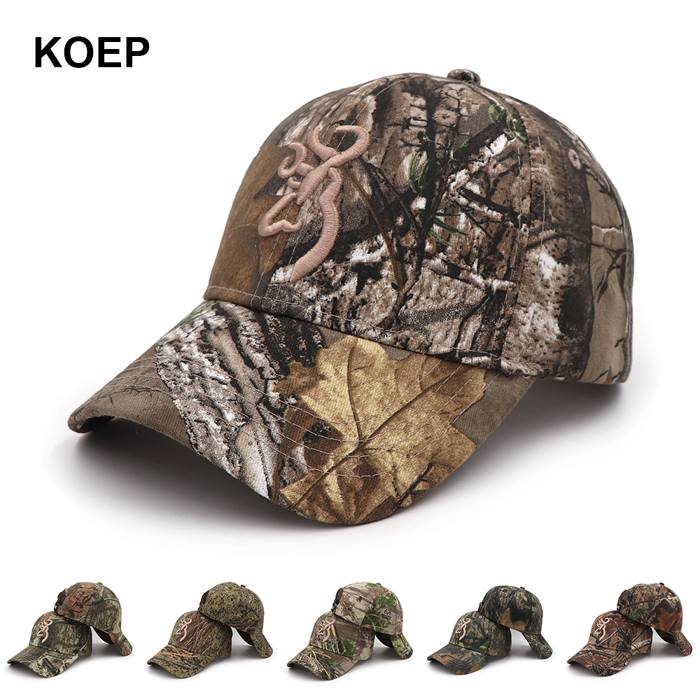 KOEP Browning Camo Baseball Cap Fishing Caps Men Outdoor Hunting Camouflage Jungle Hat Airsoft Tactical Hiking Casquette Hats