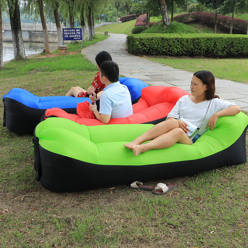 Outdoor Inflatable Lounger Lazy Bag Air Sofa For Lunch Rest Beach Sunbath Waterproof Inflatable Air Bed Sleeping Bag Many Colors