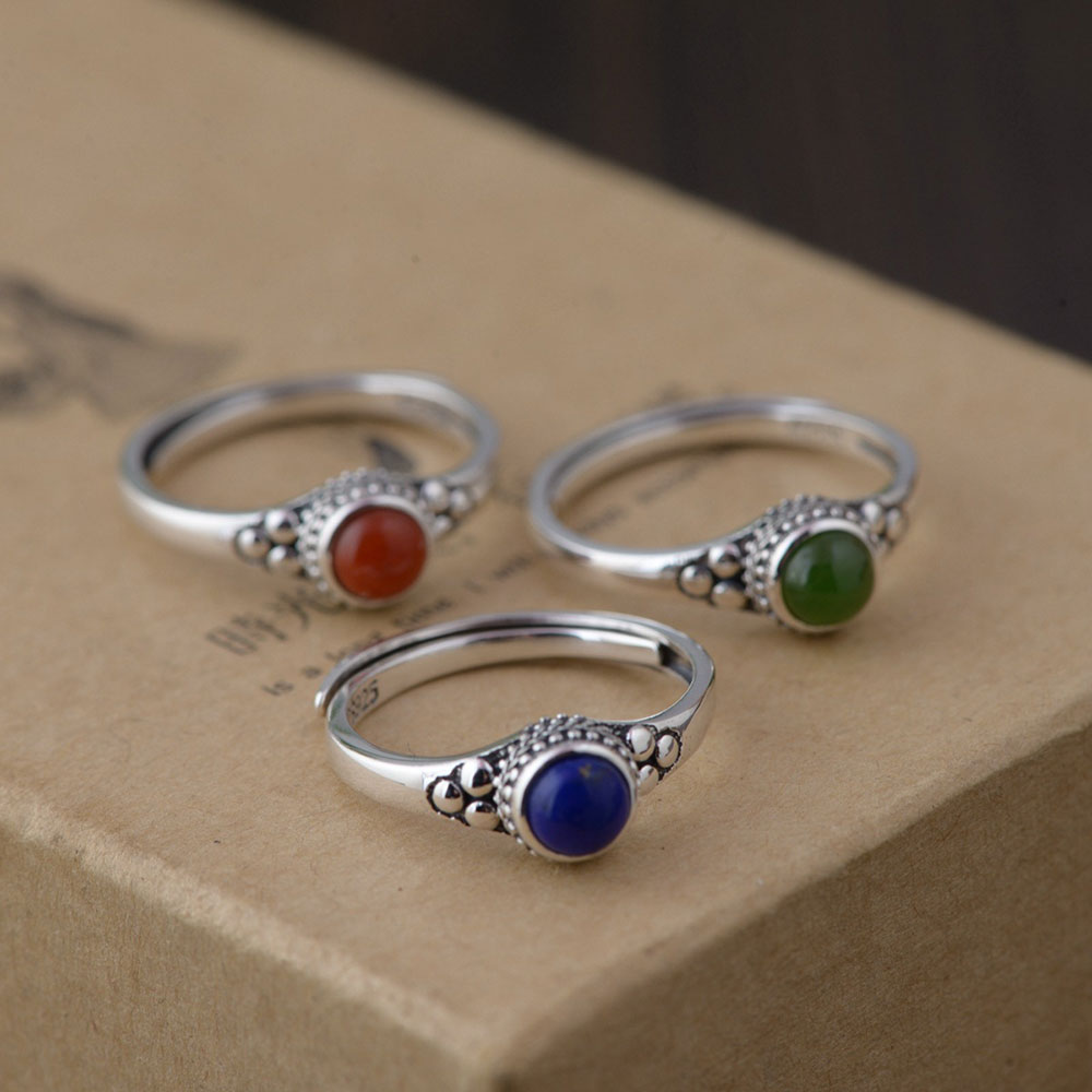FNJ 925 Silver Lapis Ring For Women Jewelry Natural Red Agate New Fashion 100% Pure S925 Silver Jasper Ring Adjustable Size