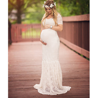 Yaz Yeni Seksi Derin V Yaka Dantel Hamile Elbise Kısa kollu Uzun Hamile Elbisesi Elbise Fotoğraf Sahne Sıkı Kuyruk elbise