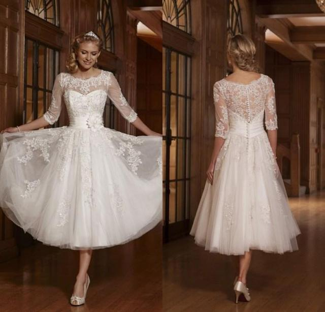 Tea Length Wedding Dresses.Us 148 75 New White Vintage Lace Tea Length Wedding Dresses A Line Tulle Appliques Beaded Short Bride Dresses Vestido De Noiva De Renda In Wedding