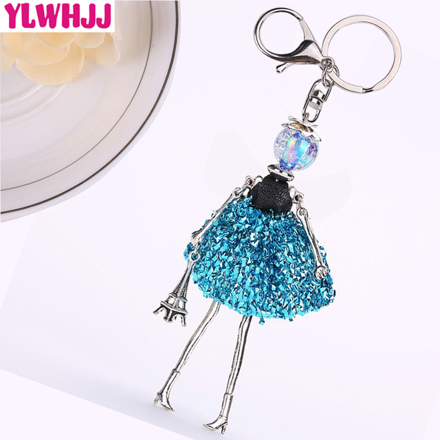 YLWHJJ brand new women blue cute Handmade doll bag car keychain pendant girl fairy baby key chains hot statement fashion jewelry
