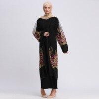 Women Abaya Dress Cardigan Long Muslim Dress Embroidery Flower Mesh Dress Elegant Club Party Islamic Dress Caftan marocain
