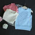 New arrival baby girls cotton sweater vest girls spring autumn sweater kids fashion sweater waistcoat candy color for 1-5T