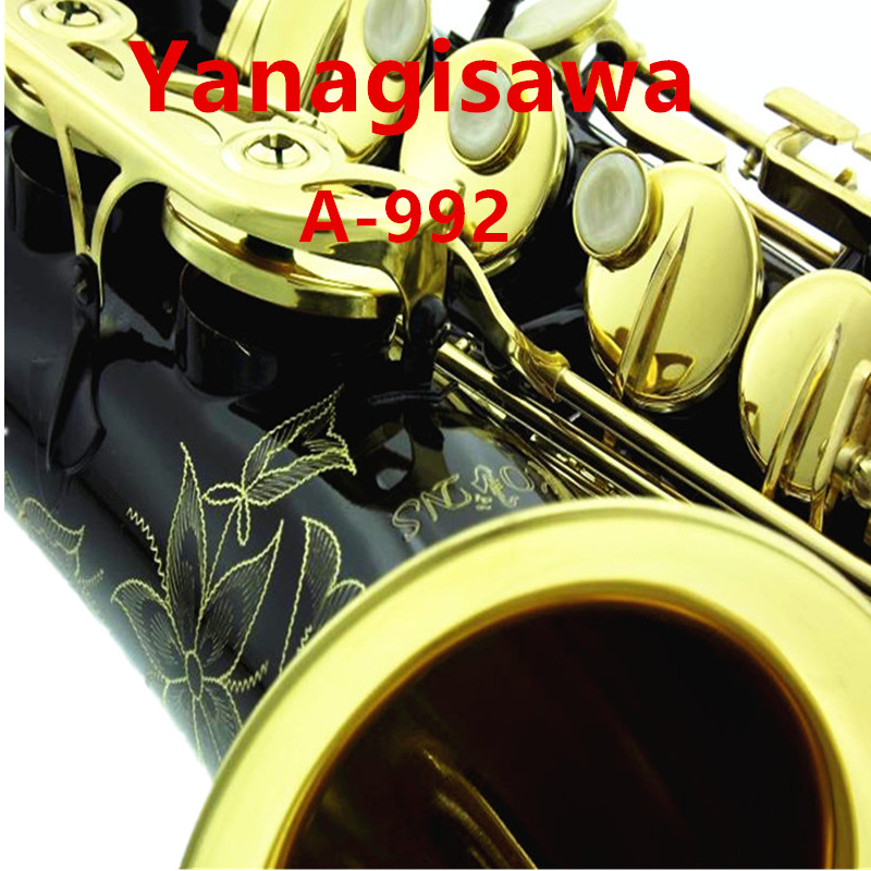 Professional New YANAGISAWA A-902 A-992 Alto Saxophone Black Lacquer Sax Mouthpiece Patches Pads Reeds Bend Neck With Case new 2017 senior french brand conn selmer black lacquer alto saxophone e as 710 matt encarved alto sax with mouthpiece