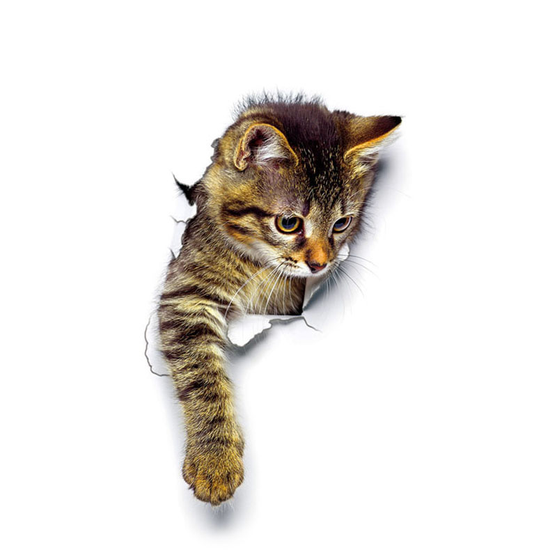 """1 шт. 3D милые наклейки """"сделай сам"""" с котом, наклейки на стену для всей семьи, украшения для окна, комнаты, ванной комнаты, унитаза, декоративные кухонные аксессуары - Цвет: 25 x 16.5 cm-03"""