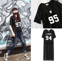 Kpop Home BTS Bangtan Boys Concert SUGA JUNGKOOK JHOPE The Same Mesh Lace Two Piece Short